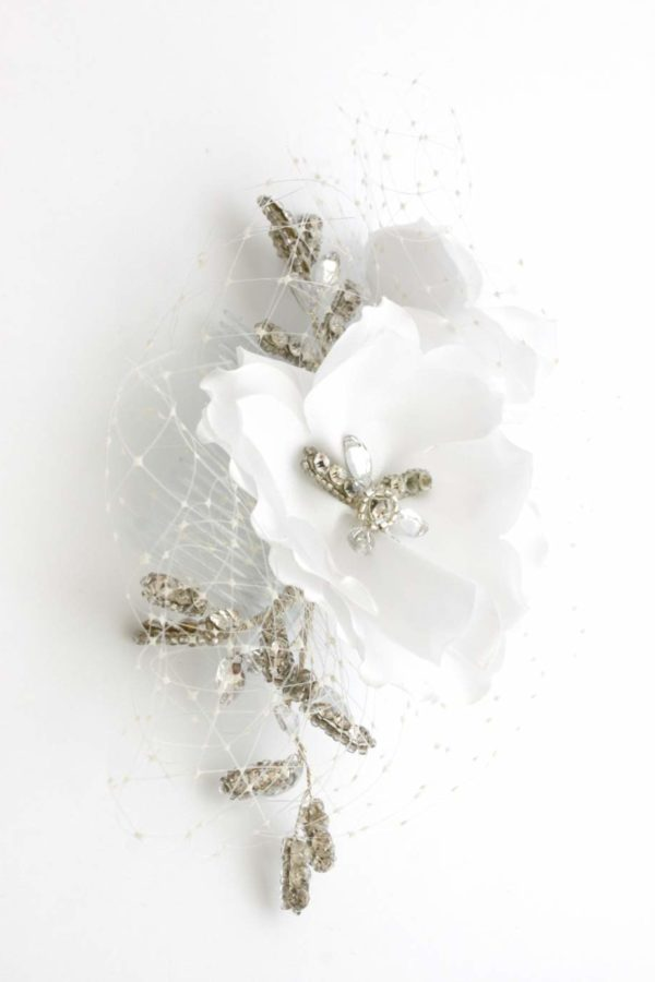 grzebyk z woalką biały ashla 2
