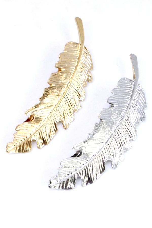 spinka do włosów piórko złote srebrne