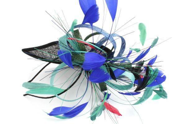 fascynator z toczkiem łezka pióra niebieski czarny na zamówienie