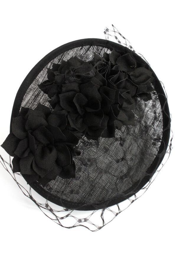 toczek na pogrzeb z woalką czarny