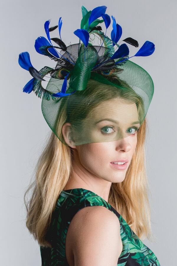 tropikany fascynator zielony woal piórka zielone niebieskie