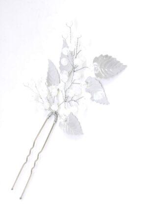 kokówka wpinak stroik ślubny delikatny srebrny listki