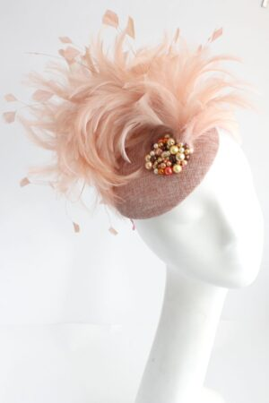 toczek na wesele śłub piora łososiowe pudrowy róż