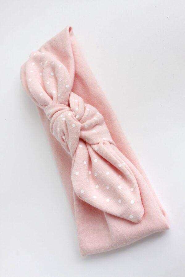 opaska bawełniana dla opaski dziewczynki z kokardą węzełkiem pastelowe myszka miki kropeczki róż