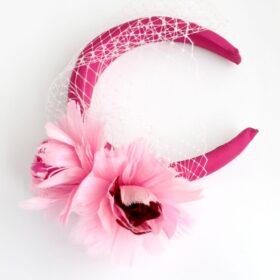 opaska kwiat piwonia pióra różowa kwiaty fascynator woalka
