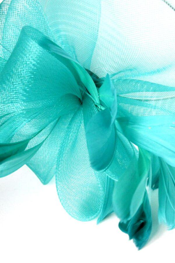 hope fascynator zielony morski duży woal pióra