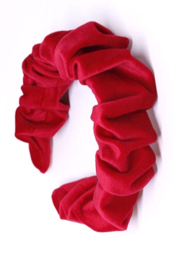 velvetina opaska z weluru czerwona