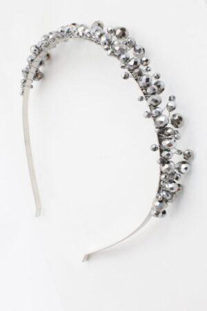 opaska z kryształkami w kolorze szarym srebrnym