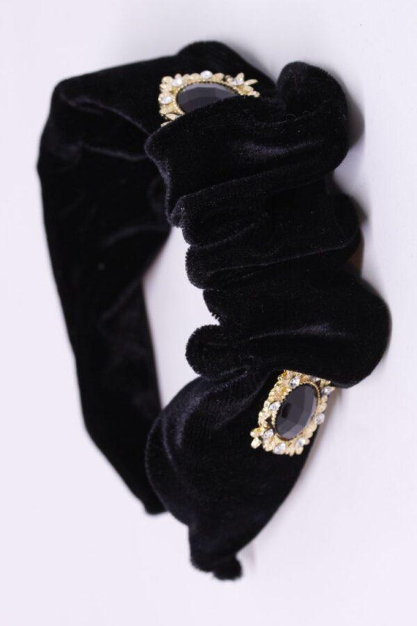 opaska welurowa czarna marszczona z guzikiem