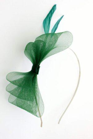 kori, mini fascynator zielony kokardka