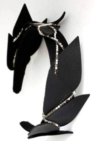 valure opaska z listkami czarna i łańcuszkiem