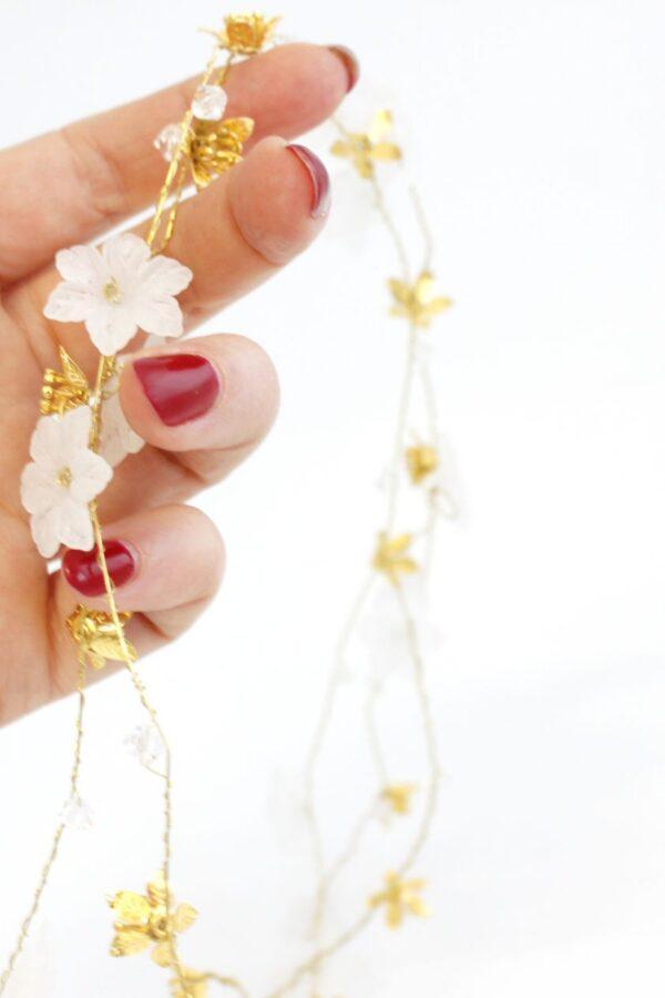 drucik do oplatania fryzury z kwiatuszkami GOLD GLOW