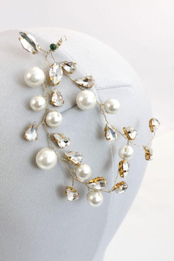 LUMIA 1 przypinka z perełkami złota i srebrna