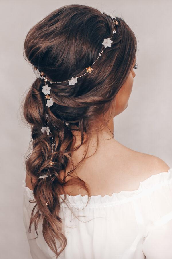 druciek do oplatanai fryzury z kwiatuszkami GOLD GLOW