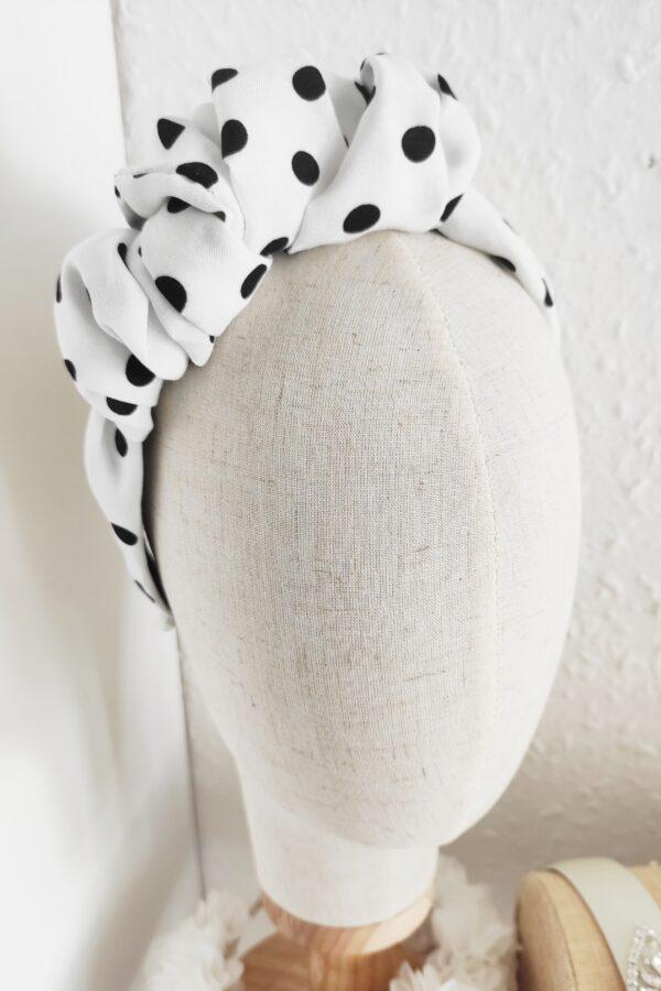 opaska w groszki biało czarna retro