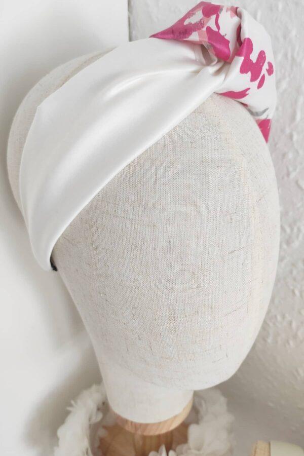OLEANDER opaska z motywem różu i bieli