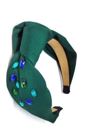 zielona opaska z tkaniny z wyszyciem z węzłem piękna na co dzień