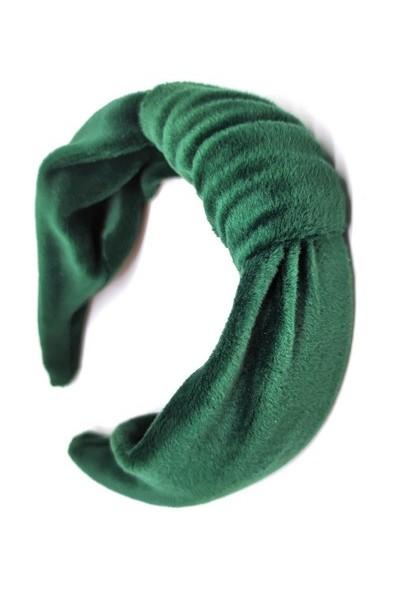 welurowa opaska z marszczeniem błękit i zielony mięciutka