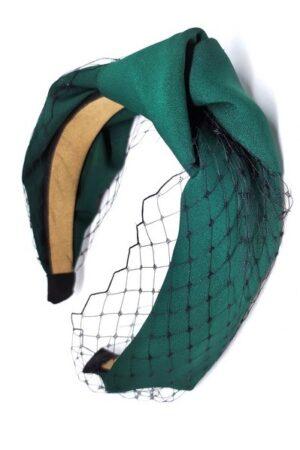 zielona opaska z węzłem i czarna woalką na co dzień na imprezę